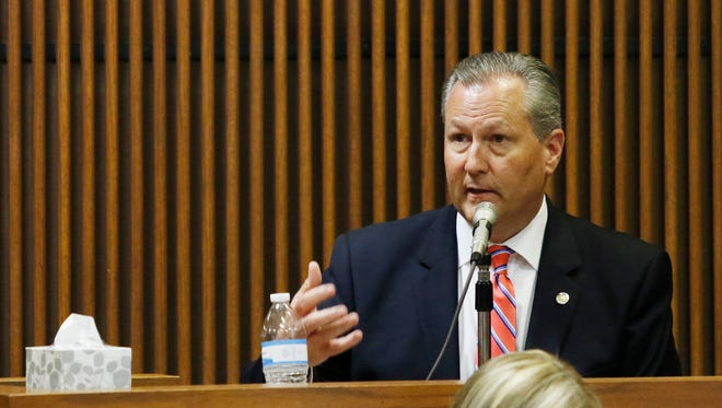 Alabama House Speaker Mike Hubbard testifies during his trial, Tuesday, June 7, 2016, in Opelika, Ala. Hubbard faces 23 felony ethics charges accusing him of using his political positions to make money and seek financial favors, investments and employment from lobbyists and people with business before the Alabama Legislature. (Todd J. Van Emst/Opelika-Auburn News via AP, Pool)