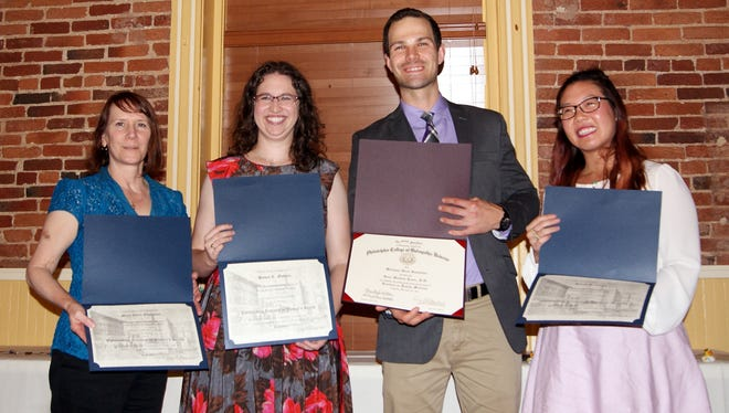 The WellSpan Good Samaritan Hospital Family Residency in Lebanon recently presented awards to these graduating and ongoing residents. From left, they are: Mary Ellen Edmiston, DO; Susan R. Medalie, DO; Sean M. Jones, DO; and Sarah H. Ching, DO.