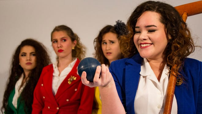 """Nayda Baez (far right) plays Veronica in Florida Rep Conservatory's """"Heathers: The Musical."""" She's pictured with The Heathers, played by Chloe Tsai, Athena Kelley and Cat Westley."""