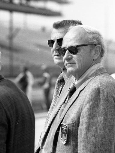 Tom Binford, Chief Steward, front, with Sam Hanks at the Indianapolis Motor Speedway. Photo taken May 13, 1974.