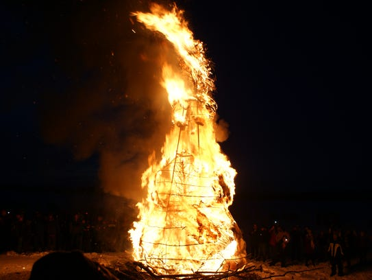'Norman' goes up in flames during the 2015 Burning