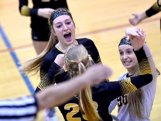 Red Lion's Logan Dontell, top, and Autumn Zeplo celebrate