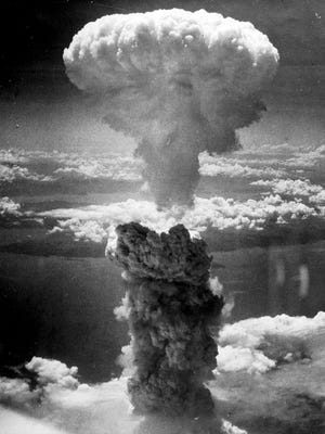 This is the mushroom cloud after the atomic bomb that exploded over Nagasaki on Aug. 9, 1945.