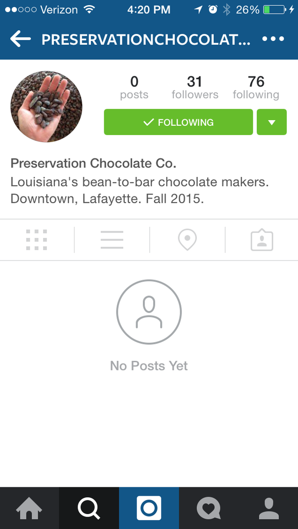 This phone screenshot shows the Preservation Chocolate Co.'s Instagram page, which currently does not have any posts.