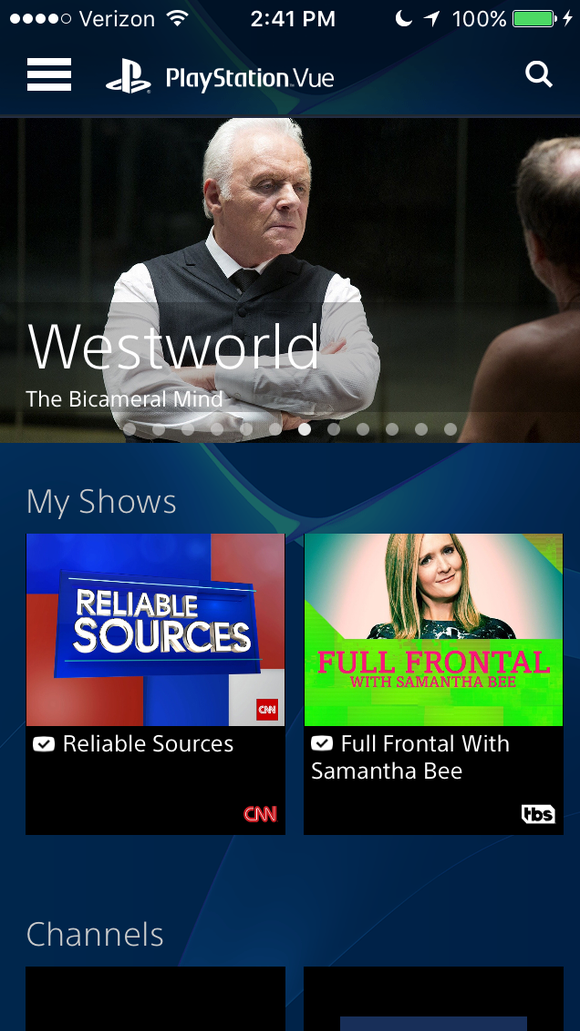 A screen shot of PlayStation Vue on a smartphone.