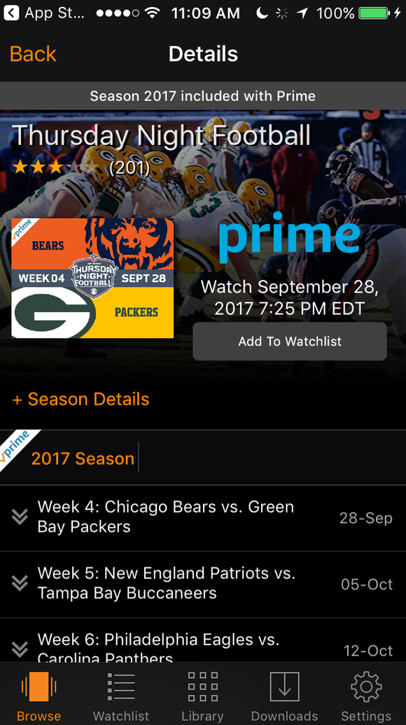 The Amazon Prime Video app showing Thursday Night Football