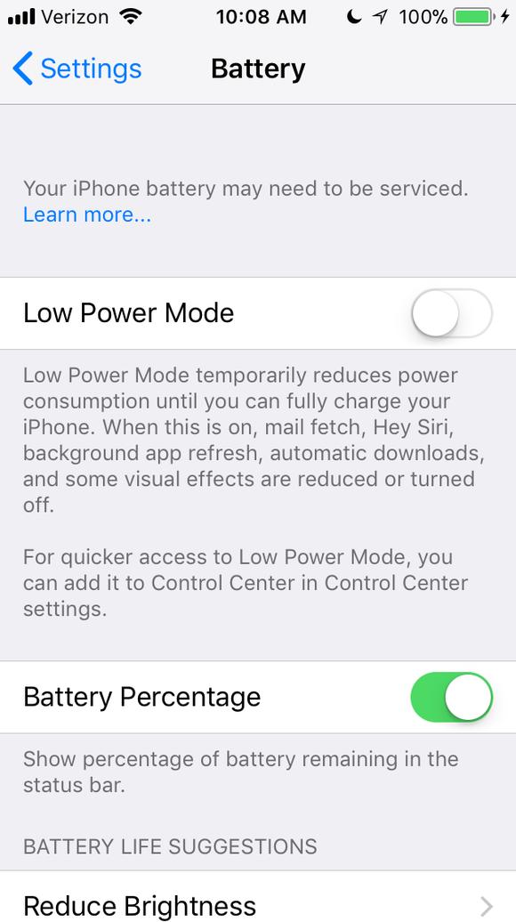 A screen shot from an iPhone 6S Settings menu suggesting
