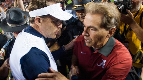 Auburn Head Coach Gus Malzahn and Alabama head coach