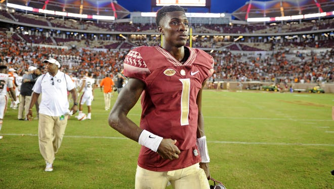 Oct 7, 2017; Tallahassee, FL, USA; Florida State Seminoles quarterback James Blackman (1) walks off the field after the loss to the Miami Hurricanes at Doak Campbell Stadium.