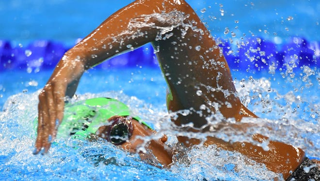 FGCU graduate  Lani Cabrera of Barbados during the women's 400m freestyle heats in the Rio 2016 Summer Olympic Games at Olympic Aquatics Stadium. on Sunday, Aug. 7, 2016, in Rio de Janeiro, Brazil.