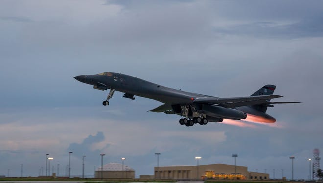 In this U.S. Air Force image obtained from the Defense Department, a U.S. B-1B Lancer takes off from Andersen Air Force Base in Guam.