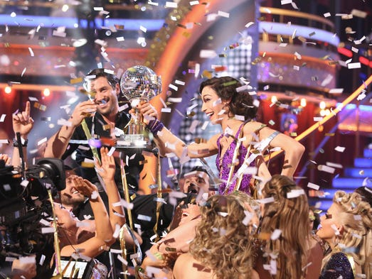 """The winners! The Season 18 champs of """"Dancing With the Stars"""" are Meryl Davis and Maks Chmerkovskiy. USA TODAY's Ann Oldenburg takes a look back at the other celebs who tried for the trophy."""