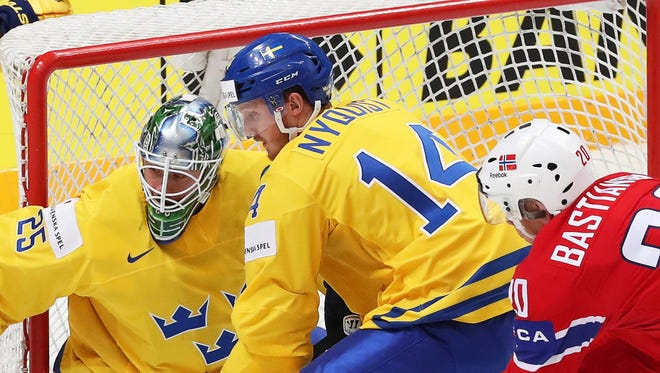 Sweden's Gustav Nyquist during the Ice Hockey World Championship 2016 preliminary round match between Norway and Sweden on May 14, 2016.