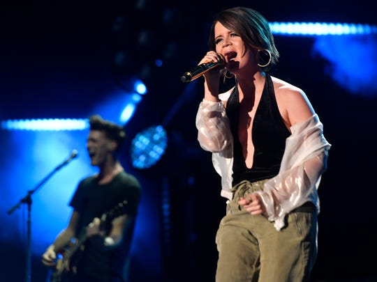 Maren Morris performs at Nissan Stadium on the third day of CMA Fest 2017, on Saturday, June 10, 2017, in Nashville, Tenn.