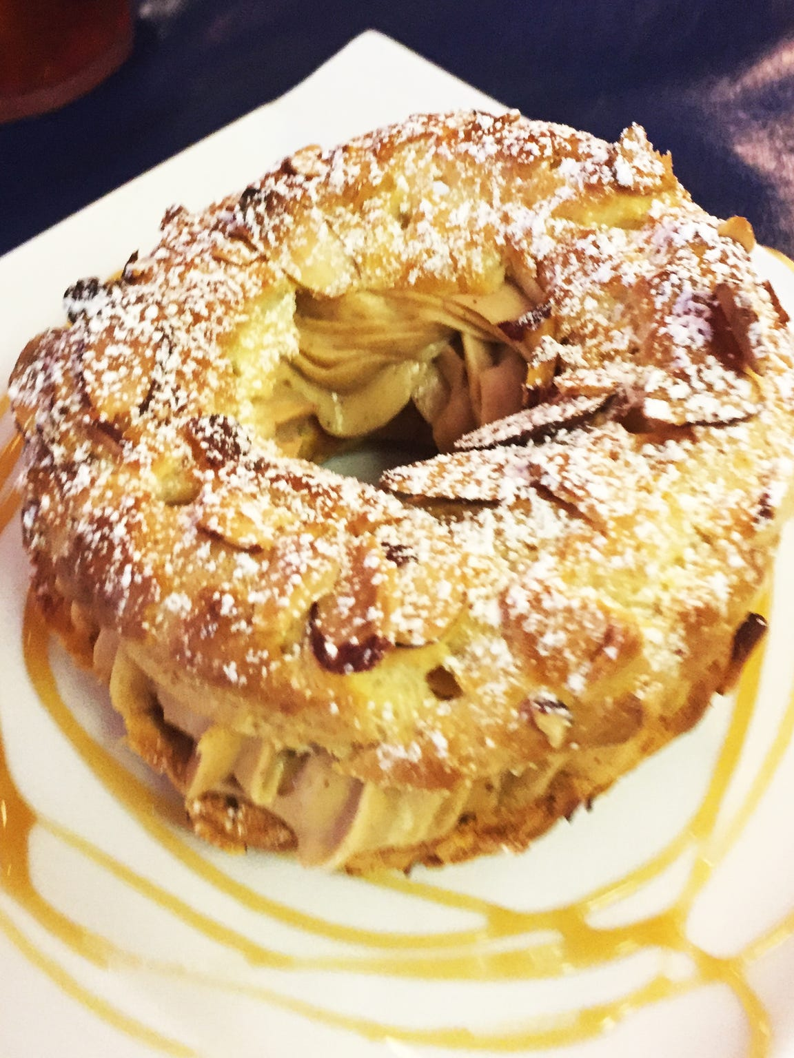 The Paris-Brest ($4) is a pastry filled with hazelnut