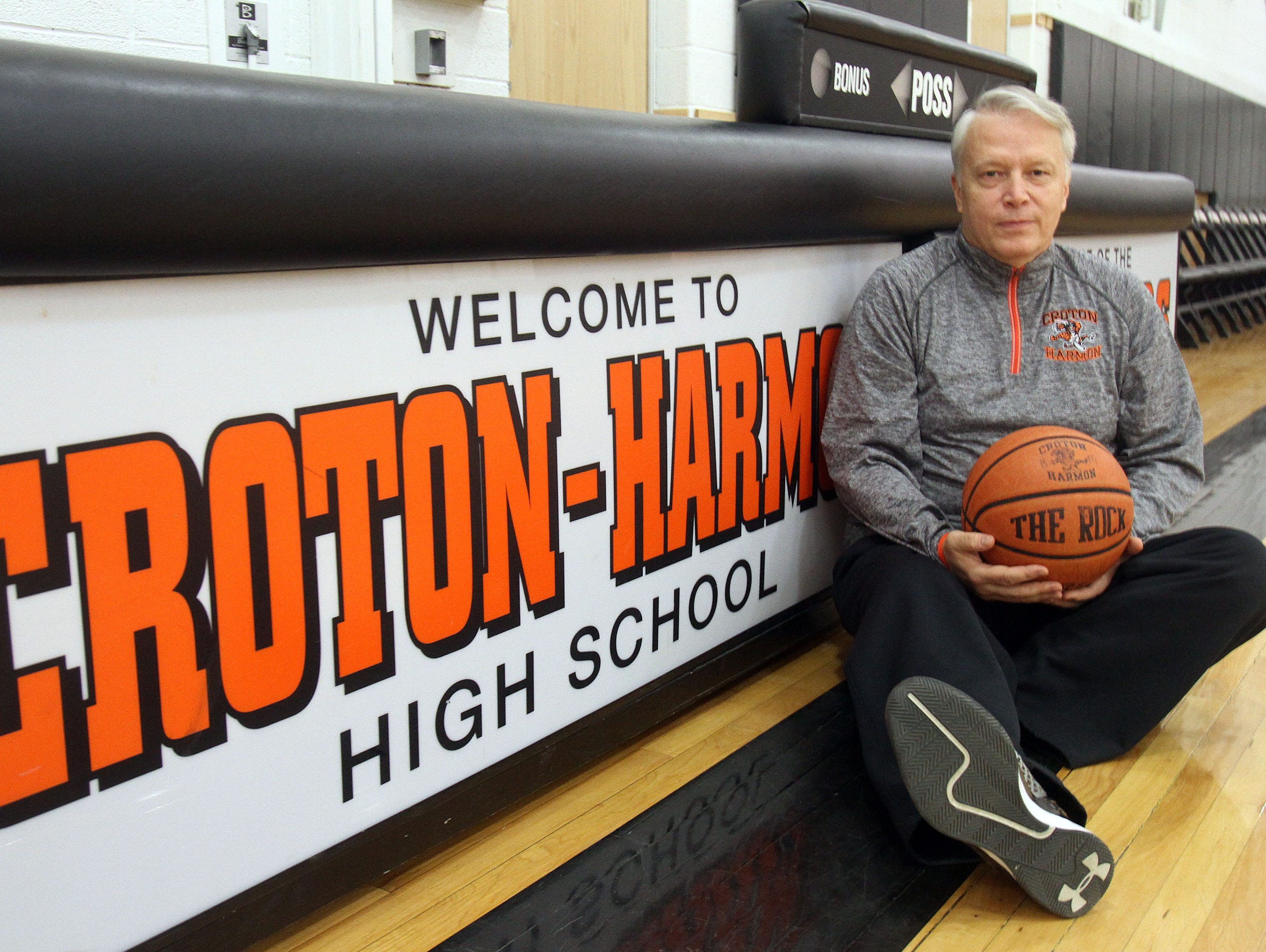 Croton basketball coach Bill Thom is photographed before a game in the Croton High School gym Jan. 21, 2016.