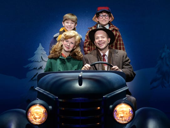 """Susannah Jones as Mother, Christopher Swan as The Old Man, Cal Alexander as Randy and Colton Maurer as Ralphie """"A Christmas Story, The Musical."""" Photo by Gary Emord Netzley."""