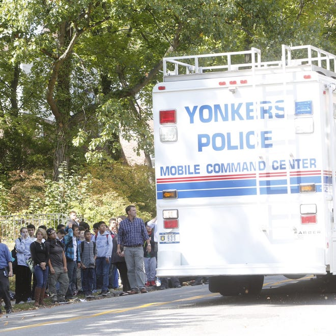 """Mobile command center arrives at Yonkers Middle High School after hundreds of students were evacuated from the building Wednesday morning as officials investigated """"an unidentified noxious substance. """""""