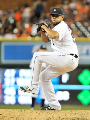 Francisco Rodriguez works in the ninth inning against the Royals on July 15.