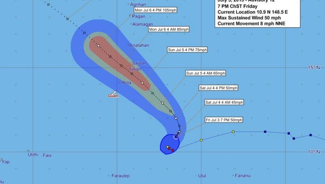 Forecast graphic for Tropical Storm Chan-hom issued at 7 p.m.