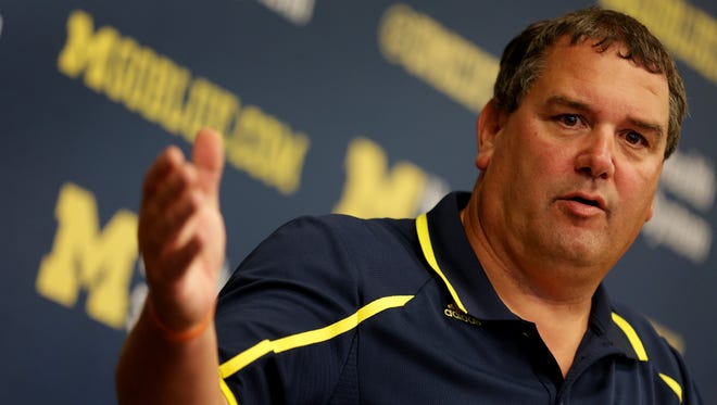 Coach Brady Hoke during a press conference at Junge Family Champions Center in Ann Arbor on Monday, Sept. 29, 2014.