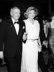 Frank and Barbara Sinatra are seen arriving at a Frank Sinatra Celebrity Invitational Gala in the early 1990s.