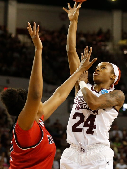 Mississippi State guard Jordan Danberry (24) shoots over the defense of a Nicholls player during the first half of a first-round game in the NCAA women's college basketball tournament in Starkville, Miss., Saturday, March 17, 2018. (AP Photo/Rogelio V. Solis)