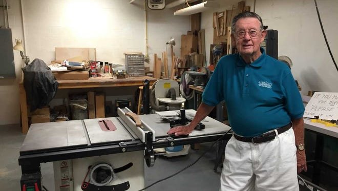 Bob Kuhn, 95, works in his wood shop nearly every day. He said he always has to have a project in the works. He can't just sit around.