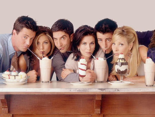 "Kathleen Turner got real about the ""Friends"" cast, calling (from left) Matthew Perry, Jennifer Anniston, David Schwimmer, Courteney Cox, Matt LeBlanc and Lisa Kudrow unwelcoming."