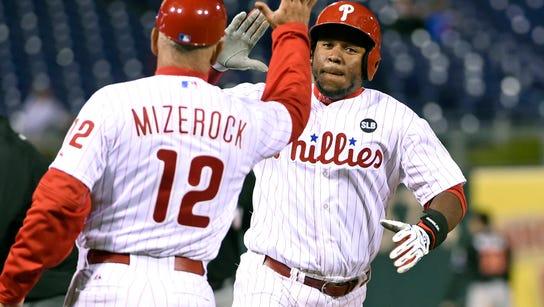 Phillies third baseman Maikel Franco celebrates with