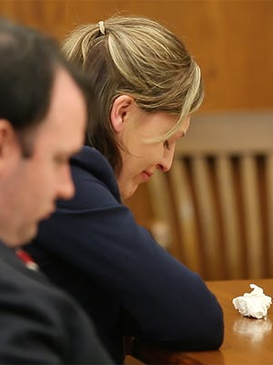 Heather Cleveland breaks down in court Friday June 24, 2016 while a family member of the woman she killed in an auto crash in 2014 reads a letter to the court about the deceased woman. Cleveland was sentenced to 3 years in prison and 2 years extended supervision for causing the crash.