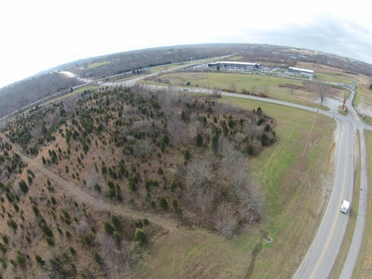 An aerial view shows the site where a new Kroger store is planned in Buckner in Oldham County.