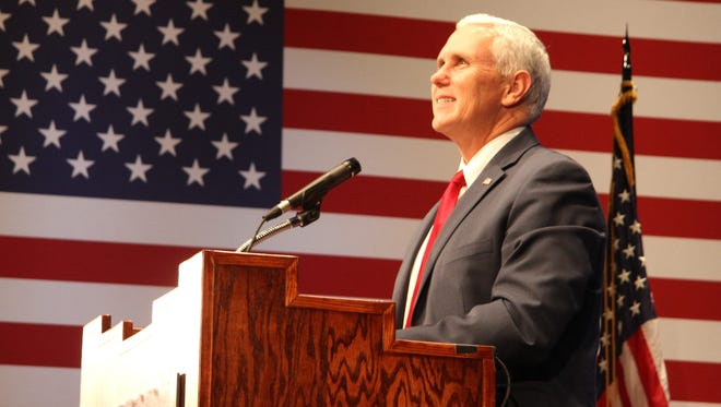 Mike Pence, the Republican party candidate for vice president spoke to a crowd in historic Pearson Auditorium at New Mexico Military Institute in Roswell, N.M. Aug. 16.