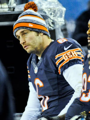 Bears quarterback Jay Cutler on the sidelines in the second  half of their game against the New Orleans Saints at Soldier Field.