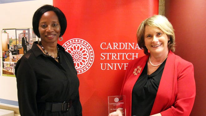 Kettle Moraine School District Superintendent Patricia Deklotz was recently honored by Cardinal Stritch University. Pictured are Dr. Freda Russell, Dean of the College of Education and Leadership, Cardinal Stritch (left) and Dr. Patricia Deklotz, Superintendent, Kettle Moraine School District.
