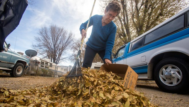 Wanda Stailey, manager at the Alexander Mobile Home Park, collects leaves on Monday at her property in Farmington.