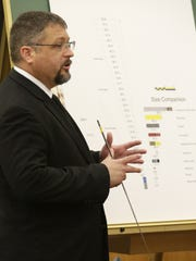 Accident reconstruction expert Daniel Billingham discusses a size concept during the case against the City of Sheboygan from the Jaime Olivas estate Wednesday April 13, 2016 at Sheboygan County Circuit Court Branch 2 in Sheboygan.