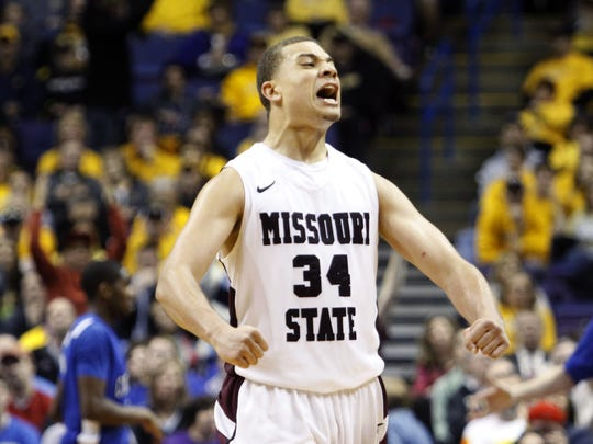 Missouri State junior Kyle Weems gets fired up as the Bears take on the Creighton Bluejays during the semifinal round of the Missouri Valley Conference tournament at the Scotttrade Center in St. Louis on Saturday, March 5, 2011.