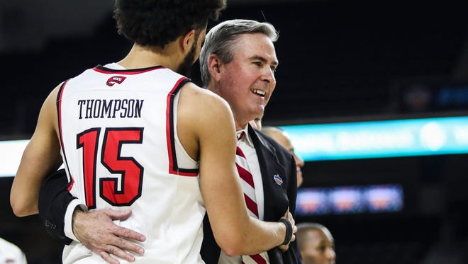 Western Kentucky coach Rick Stansbury talks to guard Darius Thompson (15) during the team's NCAA college basketball game against UAB in the Conference USA men's tournament Thursday, March 8, 2018, in Frisco, Texas. (Austin Anthony/Daily News via AP)