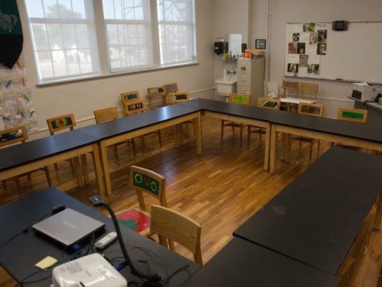 A classroom at Alma d'Arte, shown in 2017 after renovations at the school.