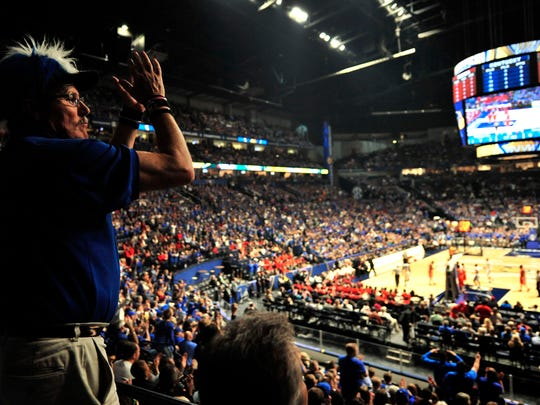 Kentucky fan Charles Wireman Lake Barkley, KY, cheers during the Georgia and Kentucky game at the SEC Basketball Tournament at Bridgestone Arena Saturday  March 12, 2016 in Nashville, Tenn.