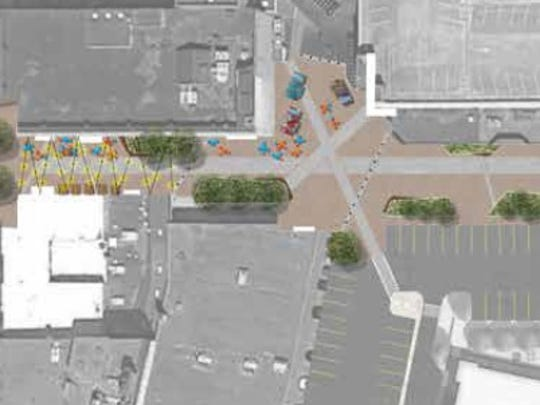A rendering of what Elmira's Clemens Square could look
