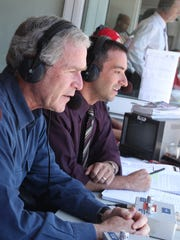 Josh Lewin, former Red Wings announcer, interviewing former president George W. Bush when Lewin was the voice of the Rangers in 2009.