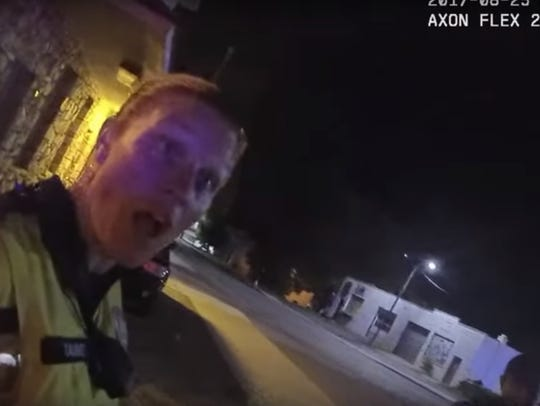 Sgt. Lisa Taube reacts to then-Asheville Police Department officer Chris Hickman as Hickman recounted an incident with Johnnie Rush on Aug. 25, 2017. Hickman told Taube that Rush tried to take the Taser from his hand at which point he was beaten.