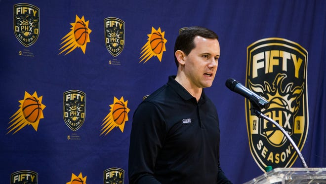 Phoenix Suns general manager Ryan McDonough meets the press at Talking Stick Resort Arena, Wednesday, April 11, 2018, to sum up the dismal Suns season.