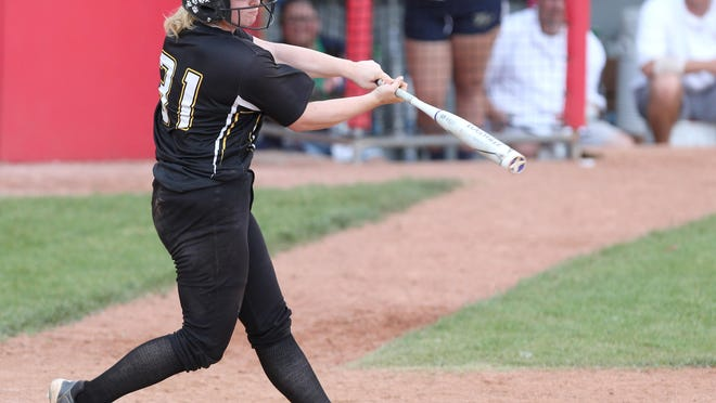 Perry´s Gia Durieux connects on a home run during the fifth inning of the Panthers' 2018 Division I softball state semifinal game against Teays Valley at Firestone Stadium in Akron.