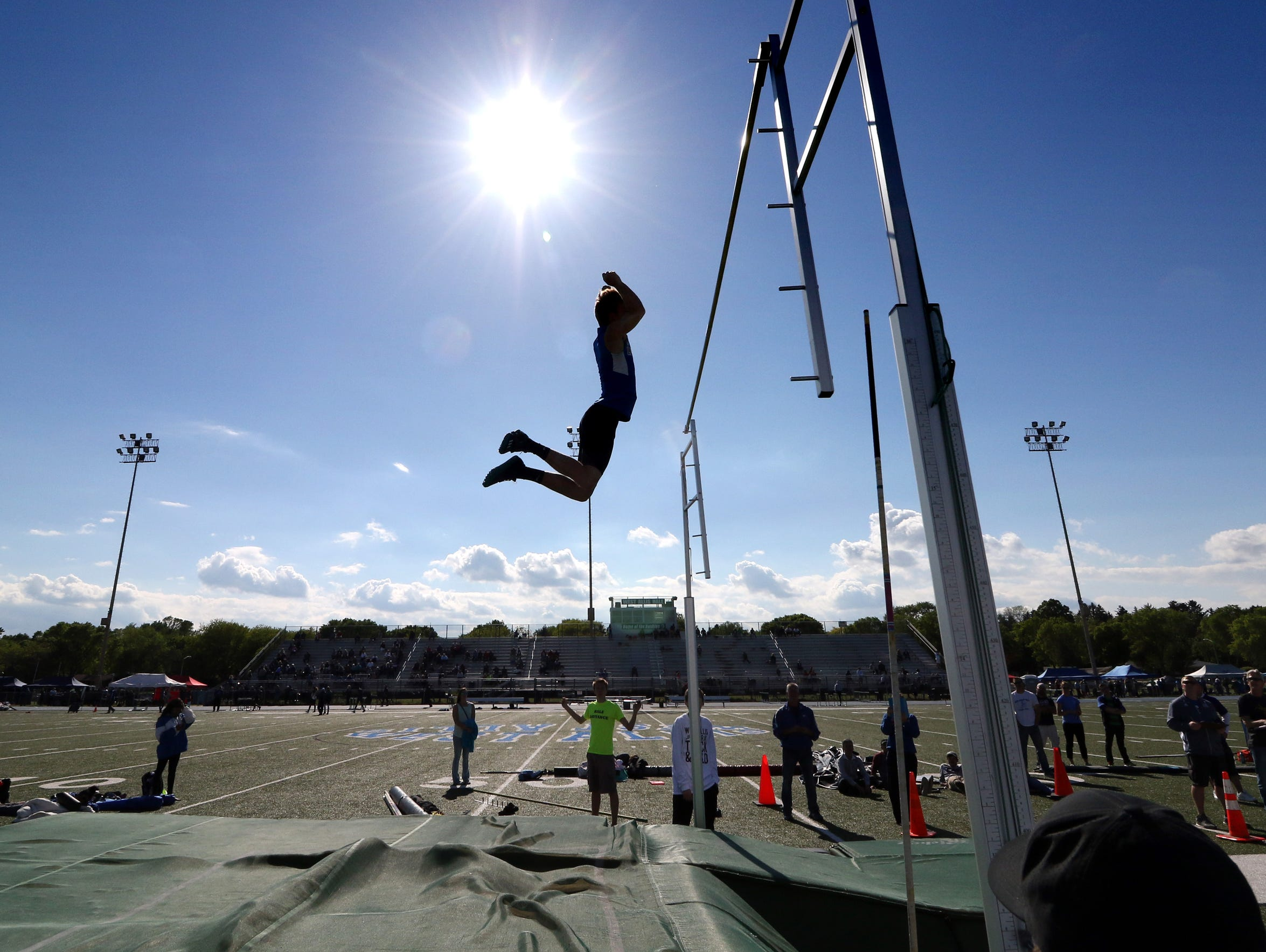 Boys pole vault competition during the WIAA West Allis