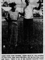 A photo from the News-Press of Connie Mack Jr., right, and Bill Stern looking over the new Cape Coral golf course in 1961.