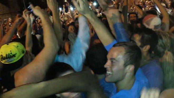 A crowd swarmed Main Street in Newark, Del., earlier in September 2013.