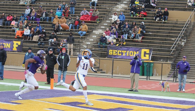 South Dakota State receveir Marquise Lewis catches a touchdown pass against Western Illinois on Sat., Oct. 28, 2017 in Macomb, Ill.